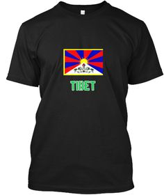 Tibet Flag Stencil Green Design Black T-Shirt Front