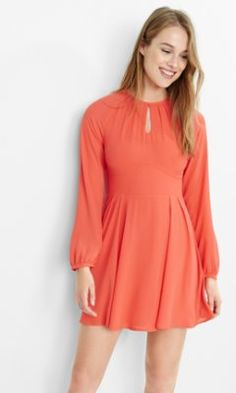 long sleeve keyhole fit and flare dress from EXPRESS