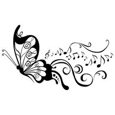 butterfly and music notes Merci Gif, Butterfly Art, Butterflies, Butterfly Stencil, Wood Burning Patterns, Music Notes, Body Art Tattoos, Swirls, Painted Rocks