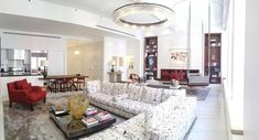 SoHo - MAC II, black and white sofa, red armchair, Mica Ertegun, Black And White Sofa, Red Armchair, Types Of Lighting, Red Interiors, Soho, Modern Interior, Shag Rug, Mirror