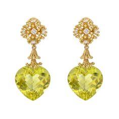 Bielka Fandango Lemon Citrine Drop Earrings with Diamond