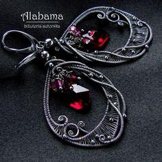 Red Wine by AlabamaStudio Wire Jewelry Earrings, Wire Wrapped Earrings, Beaded Earrings, Jewlery, Handmade Wire Jewelry, Artisan Jewelry, Earrings Handmade, Jewelry Crafts, Jewelry Art