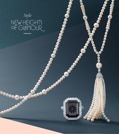 Ropes of luxurious pearls and rich gemstones evoke the cool elegance of the Roaring Twenties.