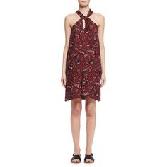 Etoile Isabel Marant Aba Floral Voile Shift Dress featuring polyvore women's fashion clothing dresses burgundy floral shift dress floral-print dresses floral dresses racerback dress flower print dress