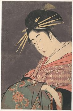 Courtesan  Kitagawa Utamaro  (Japanese, 1753–1806)  Period: Edo period (1615–1868) Culture: Japan Medium: Polychrome woodblock print; ink and color on paper