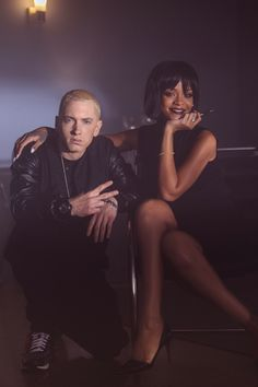 Rihanna + Eminem. Rihanna is so pretty omg they'd be so cute together.