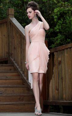 Grecian One Shoulder Sweetheart Pleated Short Sheath Dress