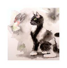 Cat Art Black Cat Art Painting Original Watercolor  by LaBerge