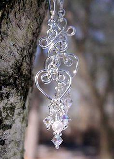 Silver Hearts and Flowers Chandelier Earrings