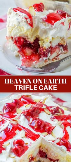 Heaven on Earth Cake with delicious layers of angel cake sour cream pudding cherry pie filling whipped topping and almonds Creamy and decadent this cherry trifle is a sur. 13 Desserts, Trifle Desserts, Delicious Desserts, Dessert Recipes, Cherry Trifle Recipes, Cherry Pie Filling Desserts, Strawberry Trifle, Cherry Pie Fillings, Fruit Cake Recipes