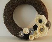 Natural Cream Bliss Wool Yarn Wreath. $38.00, via Etsy.