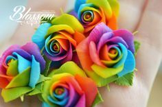 Polymer Clay Flowers, Polymer Clay Charms, Polymer Clay Earrings, Tie Dye Roses, Biscuit, Growing Crystals, Diy Gifts For Girlfriend, Gum Paste Flowers, Rainbow Roses