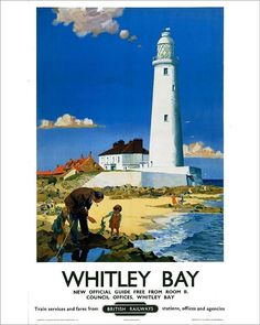 inch) Print (other products available) - Poster produced for British Railways (BR) to promote train services to Whitley Bay, Tyne and Wear. Artwork by F Donald Blake. - Image supplied by National Railway Museum - Print made in Australia Posters Uk, Railway Posters, Poster Prints, National Railway Museum, Litho Print, Art Challenge, Vintage Travel Posters, Modern Photographers, Lighthouse