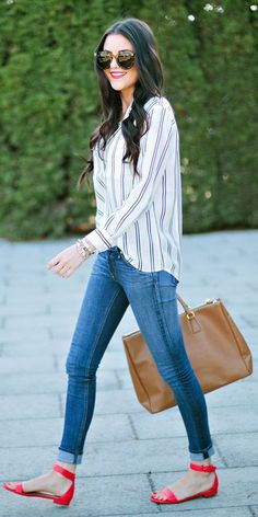 Crew Satin Stripe Blouse Blouses Stripe Blouses Stripe Blouse Stripe Blouse Outfit Ideas Can I Buy Satin Stripe Blouses Blouses Blouses Blouses Blouse Peonies Outfits Mode Style, Style Me, Classic Style, Spring Summer Fashion, Spring Outfits, Spring Style, Casual Outfits, Fashion Outfits, Womens Fashion