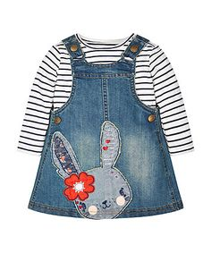Ready to wear and look bang on trend with our denim pinny and T-shirt set. Your little one will look adorable when wearing this pinny, which features a sweet bunny design and side button fastening designed for easy dressing. The set includes a classic breton stripe top that can also be mixed and matched with other items in baby's wardrobe.