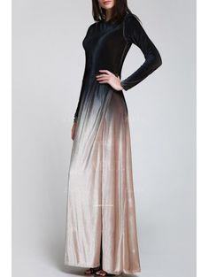 High Slit Ombre Maxi Velvet Dress - BLACK S Mobile