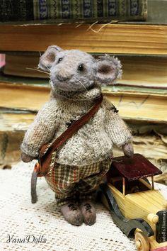 Купить Парамон - серый, мышь игрушка, мышка, тедди, тедди мышка, опилки, теддик, мышонок