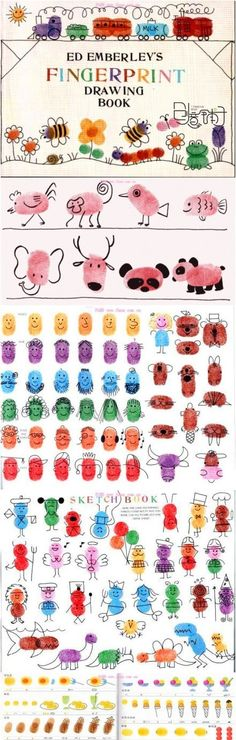 Fingerprint Art! EASY! Great for 5+ year-olds -they love using their imaginations. For the younger kiddo's they can do the stamping and you can help them with the faces (Caterpillars are a good animal for one for the littler kids to make).