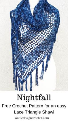 Nightfall – Free crochet pattern for triangle shawl – Annie Design Crochet