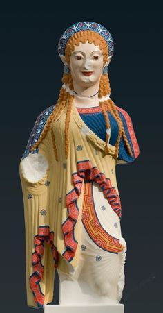Reconstruction (A1) of the so-called Chios kore from the Akropolis in Athens, 2012.  Copy of the original: Athens, c.500 BC. Crystalline acrylic glass, with applied  pigments in tempera. Liebieghaus Skulpturensammlung, Polychromy Research  Project, Frankfurt am Main, acquired 2016 as gift from U. Koch-Brinkmann  and V. Brinkmann [Credit: Fine Arts Museums of San Francisco]