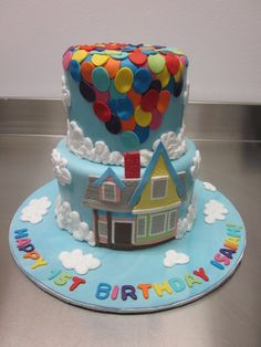 UP cake- I want something like this with hot air balloons for a baby birthday!!