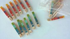 Colored clothespins with uppercase and lowercase letters. preschool activity. Heather Hess: How to Create the Perfect Activity Box for Kids. A list of busy activities for toddlers in an organized way