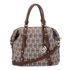 Michael Kors Medium Bedford MK Logo Monogram Satchel Beige Mocha Leather Trim