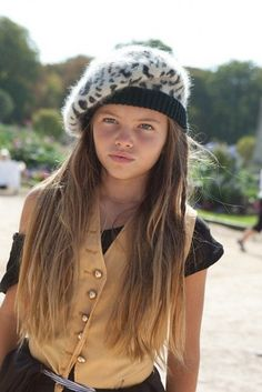 Yellow vest over a black tee and a cute hat <3 Thylane Lena-Rose Blondeau <3 Tween fashionista