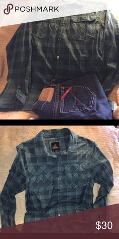 PrAna shirt Blue plaid prAna button up shirt in excellent condition.  I love the blue on blue it's really pretty.  Thanks for looking at my closet and happy poshing❗️ Prana Tops Button Down Shirts