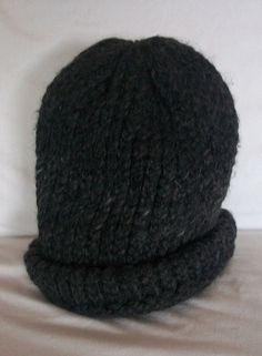 3712a75de657c Hand Knitted Winter Hat Heavy Yarn Knit Beanie Dark Gray Men Women 8