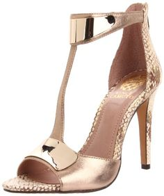 Vince Camuto...gold high heel sandals with snakeskin and gold metal details.