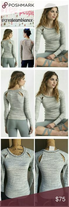 FP Movement Peekaboo Sweatshirt FP Movement Peekaboo Sweatshirt in heathered gray.  Crafted from super soft French terry, raw hems, perfect feel against your skin during a workout!   No trade, discount with bundle! Considering all reasonable offers made via the blue offer button only! Free People Tops Sweatshirts & Hoodies