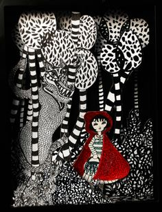 """little red riding hood and the big bad wolf,  Love this for Fractured Fairy Tales Unit, Place on Projector, discuss symbolism using color in relationship to story.  Journal writing question: """"How is the wolf represented?"""
