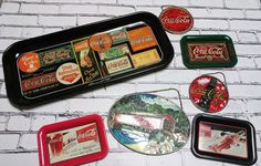 Vintage Coca Cola LOT Metal Sign Tray Set Stained Glass Wall Hanging COKE Decor