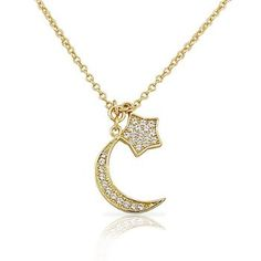 For warm evenings under the stars, sport this yellow moon and star pendant!