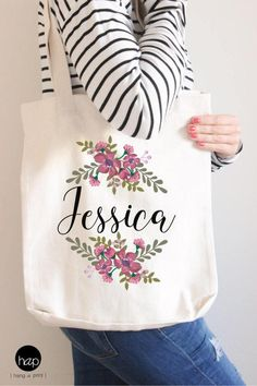 Personalized Bridesmaid Bag, Floral Tote Bag, Bridesmaid Tote Bag, Bachelorette Tote Bag, Maid of Honor Tote // Make your own set by hangAprint on Etsy Bridesmaid Tote Bags, Bridesmaid Gifts, Bridesmaid Proposal, Mother Of The Groom Bags, Sacs Tote Bags, Floral Tote Bags, Monogram Tote, Monogram Canvas, Custom Bags