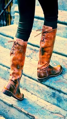 Distressed Leather Long Side Zip Boots | Fashionista Tribe | Although my calf's are way to fat to carry these off