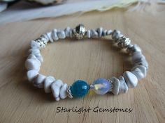 Calm Shores - White Howlite Gemstone Chip beads with Blue Fire Agate & Opalite.