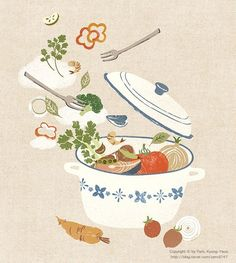 by Kyung-Yeon Park 박경연 Wallpaper Free, Illustration Noel, Japanese Illustration, Block B, Food Drawing, Arte Floral, Kitchen Art, Illustrations And Posters, Book Design