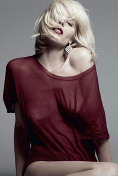 Eva Herzigova photographed by Hedi Slimane for the Eva photo shoot in the October 2009 issue of Vogue Paris