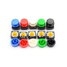 20 개 촉각 푸시 버튼 순간 스위치 12*12*7.3 미리메터 마이크로 스위치 버튼 + (20 개 5 색 전술 캡)