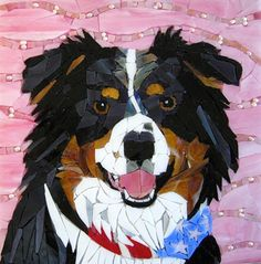 australian shepherd, aussie, dog, pet, mosaic, tri-color, pet portrait, red, gold, contemporary--Sue Betanzos   Love what she did with the background there.
