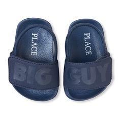 Newborn Baby Boys 'Big Guy' Slides - Blue - The Children's Place Newborn Shoes Boy, Baby Boy Shoes, Baby Boy Newborn, Baby Boy Outfits, Baby Boys, Cool Slides, Big Guys, Children's Place, Leather
