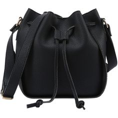 Embossed Faux Leather Drawstring Bucket Bag - Black (245 ZAR) ❤ liked on Polyvore featuring bags, handbags, shoulder bags, black, vegan purses, faux leather handbags, drawstring shoulder bag, shoulder handbags and vintage shoulder bag
