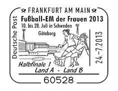 All cancellations for the UEFA Women's Euro 2013: http://d-b-z.de/web/2013/05/21/fussball-europameisterschaft-alle-stempel-briefmarken/
