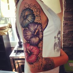 tattoos flowers hawaiian half sleeves or anything that looks like that - Google Search