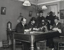 VINTAGE PHOTO 1899 CARD GAMES BETTING TEXAS HOLD EM STUD GAMBLING POKER CHIPS
