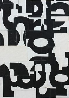 Cecil Touchon - Fusion Series #3354 - collage on paper - 7x5 inches - 2011 - black and white, typography, abstract