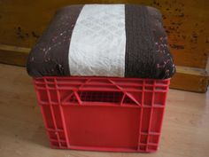 "Diy Camping seat with storage made from a milk crate and ""scraps"". Excellent space-saver for packing the car."