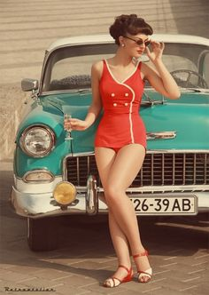 Pinup shot on location with old style car. Styling of model contrasts with the colour of the car well.